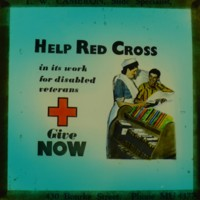 """""""Help Red Cross in its work for disabled veterans give now""""."""