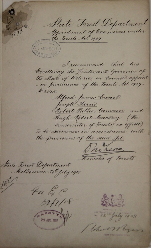 Appointment of examiners under the Forests Act 1907,