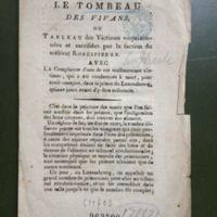 Complainte d&#039;une malheureuse victime du scélérat Robespierre.<br /> Air: De la soirée orageuse