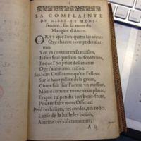 LA COMPLAINTE DV GIBET DE MONT-faucon, sur la mort du Marquis d&#039;Ancre.<br />