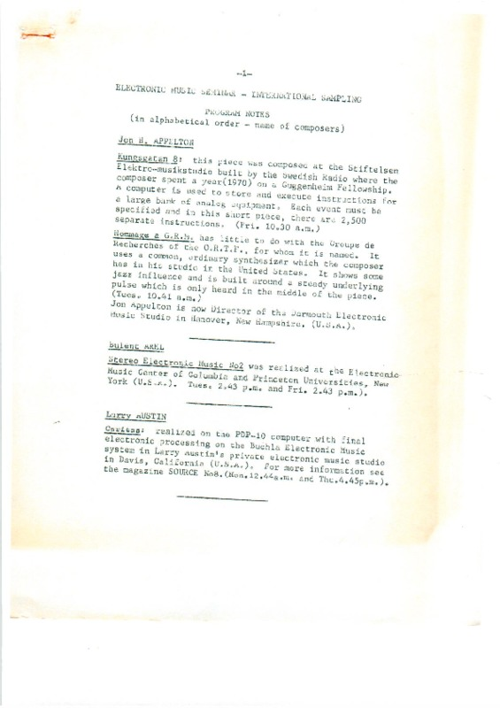 Electronic Music Seminar & International Sampling, August 1971, programme notes
