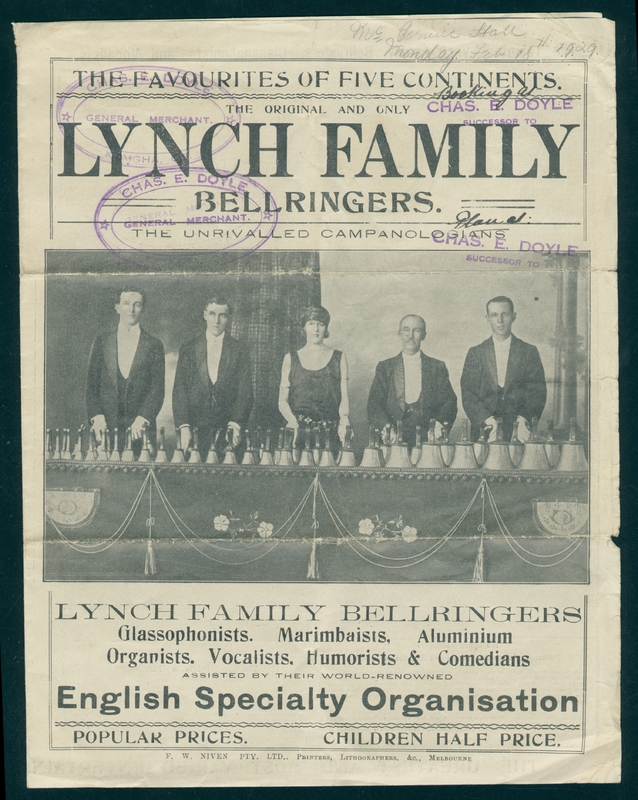 Lynch Family Bellringers, Glassophonists, Instrumentalists, Vocalists & Comedians poster, 1920s