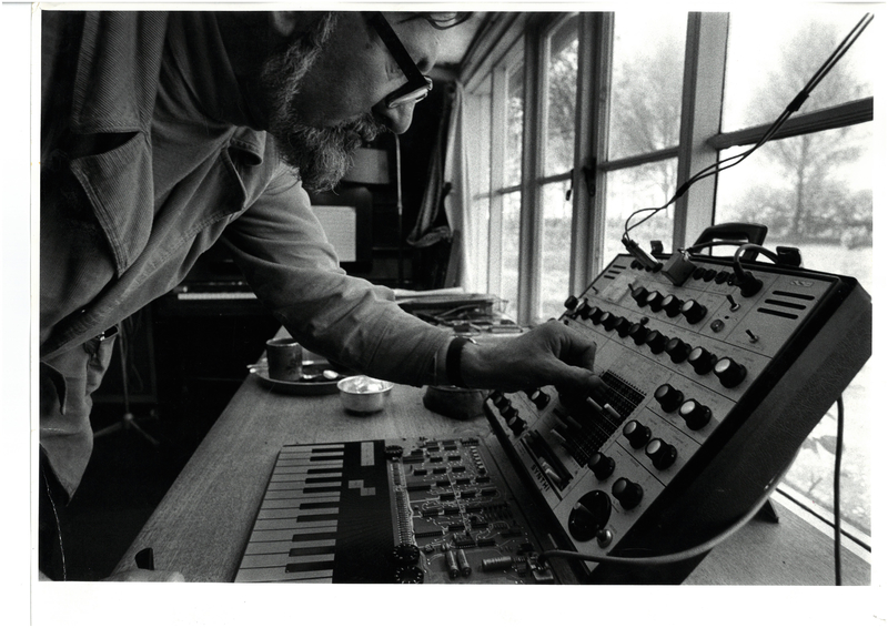 Unknown photographer, Tristram Cary with the EMS Synthi AKS in his studio at Fressingfield