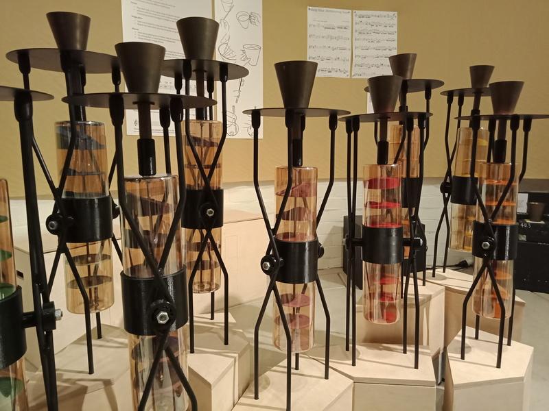 Federation Handbells in an interactive display, 'Bell-Field', Grainger Museum 2019