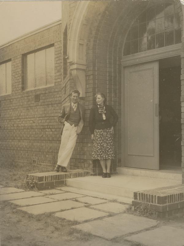 Ella and Percy Grainger outside the Grainger Museum, University of Melbourne, in 1938.