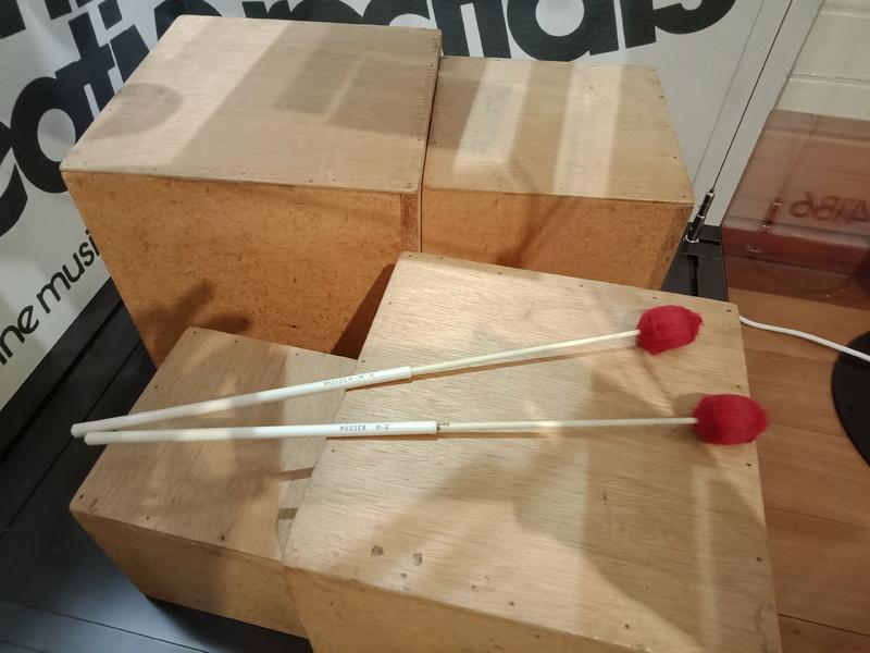 Box percussion instruments created for the Australian Percussion Ensemble, c.1974