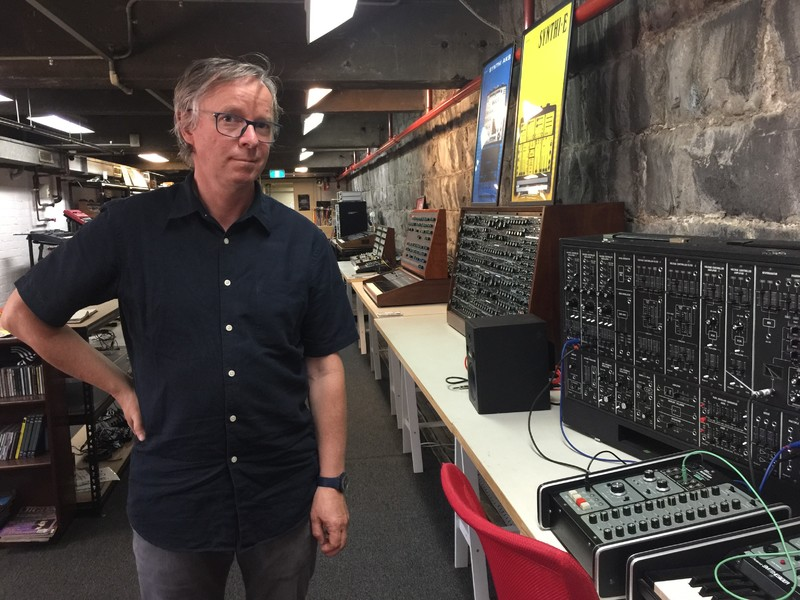 David Chesworth during his Artist-in-residency at Melbourne Electronic Sound Studio, 2017