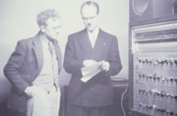 Percy Grainger with Dr Earle Kent, and 'Dr Kent's Electronic Music Box',